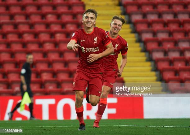 James Norris of Liverpool celebrates scoring Liverpool's third goal during the PL2 game at Anfield on October 16, 2021 in Liverpool, England.