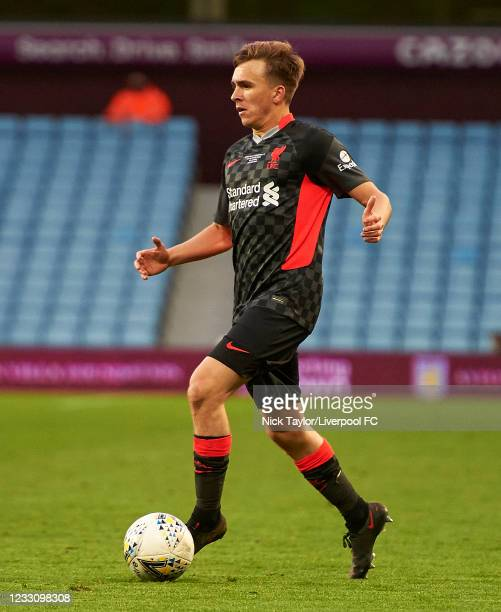 James Norris of Liverpool in action during the FA Youth Cup Final between Aston Villa U18 and Liverpool U18, at Villa Park on May 24, 2021 in...