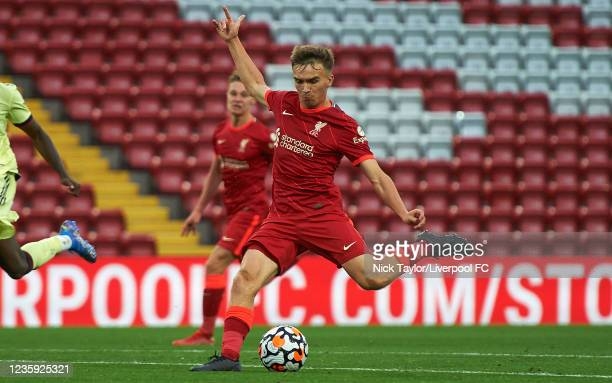 James Norris of Liverpool in action during the PL2 game at Anfield on October 16, 2021 in Liverpool, England.