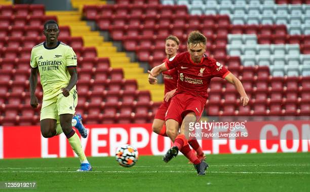 James Norris of Liverpool scores Liverpool's third goal during the PL2 game at Anfield on October 17, 2021 in Liverpool, England.