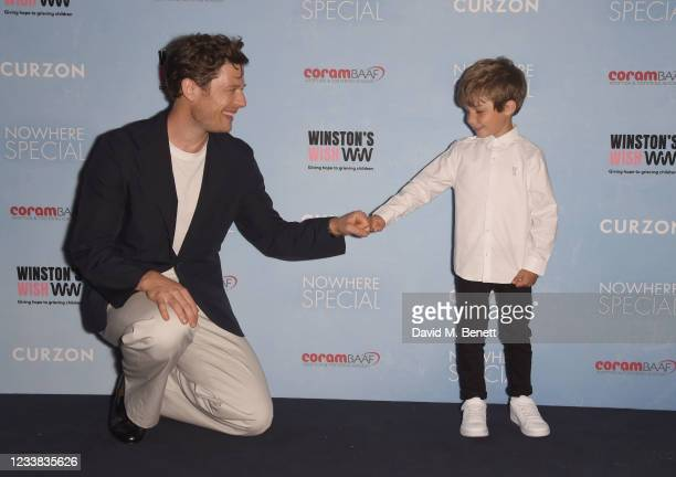 """James Norton and Daniel Lamont attend a special screening of """"Nowhere Special"""" at The Curzon Mayfair on July 6, 2021 in London, England."""