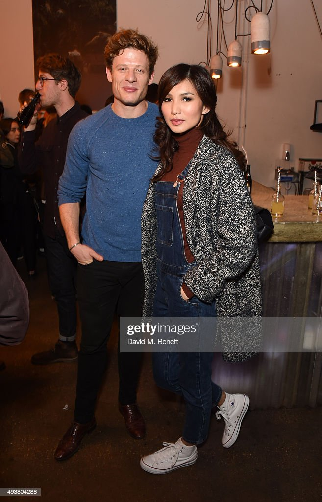 James Norton (L) and Gemma Chan attend Whistles Men 1st birthday celebrations at Protein Galleries on October 22, 2015 in London, England.