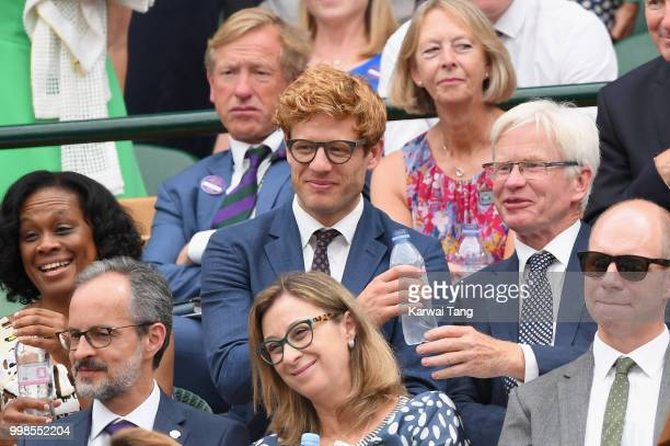 James Norton attends day twelve of the Wimbledon Tennis Championships at the All England Lawn Tennis and Croquet Club on July 13 2018 in London...