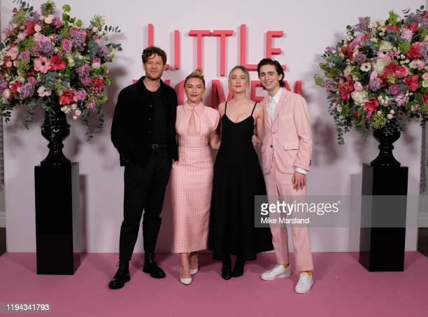 """James Norton, Florence Pugh, Saoirse Ronan and Timothee Chalamet during the """"Little Women"""" photocall at Soho Hotel on December 16, 2019 in London,..."""