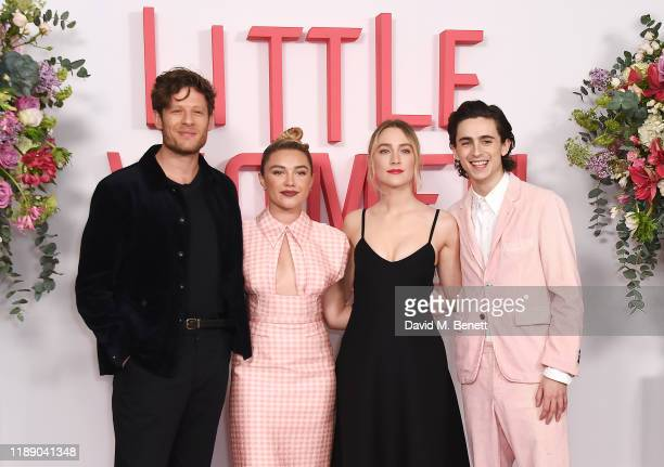 """James Norton, Florence Pugh, Saoirse Ronan and Timothee Chalamet pose at the evening photocall for """"Little Women"""" at The Soho Hotel London on..."""