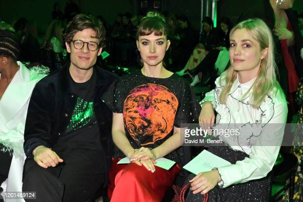 James Norton, Imogen Poots and Alison Sudol attend the Christopher Kane show during London Fashion Week February 2020 at The Mail Centre on February...
