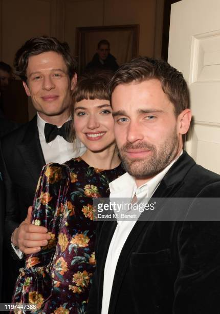 James Norton, Imogen Poots and Christian Cooke attend the dunhill & Dylan Jones Pre-BAFTA party at dunhill Bourdon House on January 29, 2020 in...