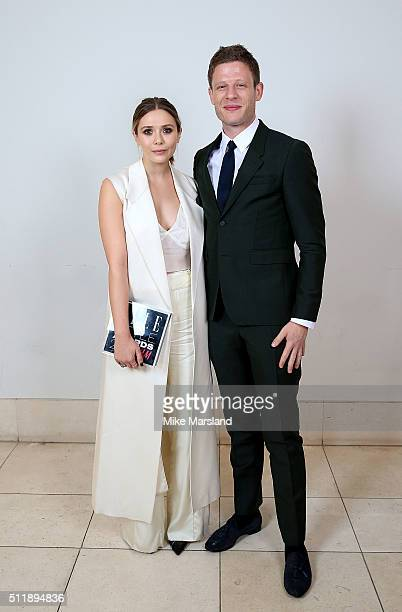 James Norton with Elizabeth Olsen winner of the Actress of the Year award poses in the winners room at The Elle Style Awards 2016 on February 23 2016...