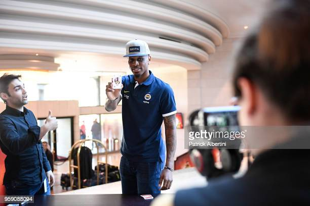 James Nunnally #21 of Fenerbahce Dogus Istanbul during the Fenerbahce Dogus Istanbul Arrival to participate of 2018 Turkish Airlines EuroLeague F4 at...