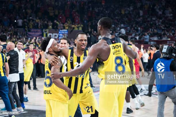 James Nunnally #21 of Fenerbahce Istanbul and Bobby Dixon of Fenerbahce Istanbul and Ekpe Udoh #8 of Fenerbahce Istanbul during the 2017 Final Four...