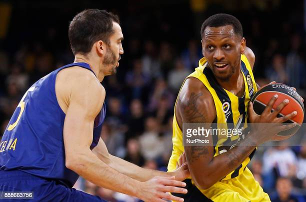 James Nunnally and Pau Ribas during the match between FC Barcelona v Fenerbahce corresponding to the week 11 of the basketball Euroleague in...