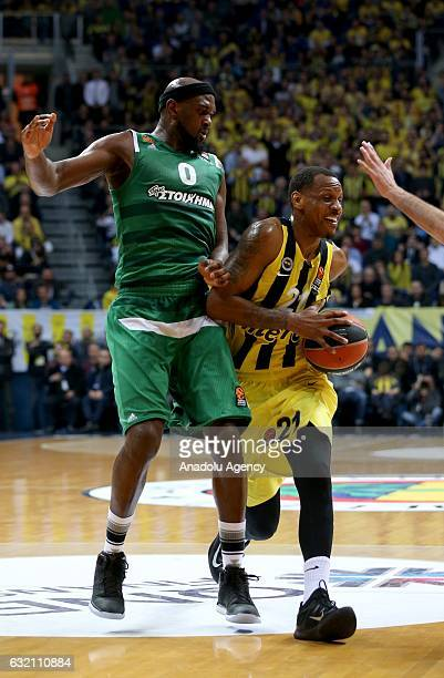 James Nunnally of Fenerbahce and Chris Singleton of Panathinaikos Superfoods vie for the ball during the Turkish Airlines Euroleague 18th week game...