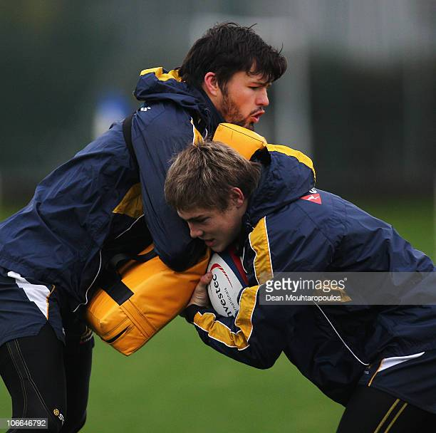 James O'Connor and Adam AshleyCooper in action during an Australian Wallabies training session at Latymer Upper School on November 9 2010 in London...