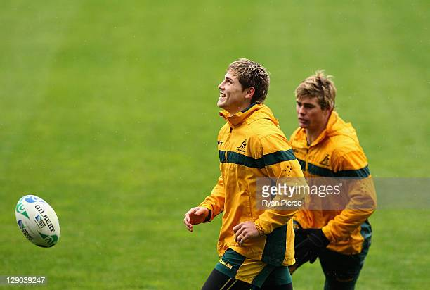 James O'Connor and Berrick Barnes of Australia train during an Australia IRB Rugby World Cup 2011 training session at North Harbour Stadium on...