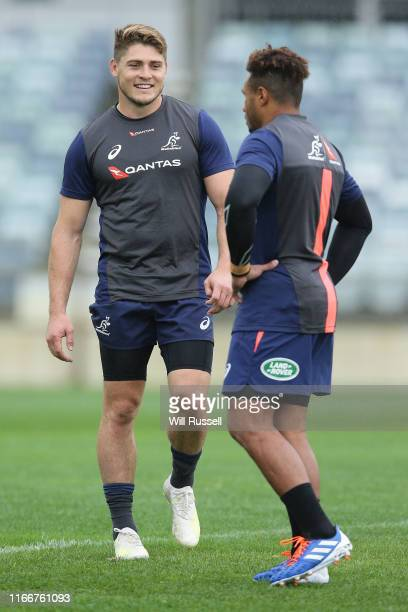 James O'Connor and Will Genia of the Wallabies during an Australian Wallabies training session at the WACA on August 08 2019 in Perth Australia