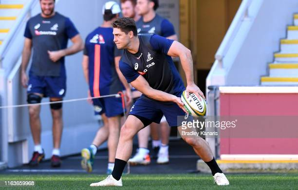 James O'Connor looks to pass during the Australian Wallabies training session at Suncorp Stadium on July 23 2019 in Brisbane Australia