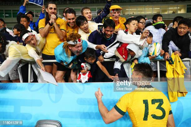 James O'Connor of Australia celebrates victory with the fans following the Rugby World Cup 2019 Group D game between Australia and Georgia at...