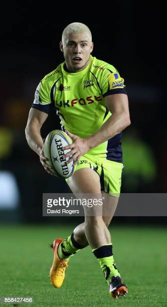 James O'Connor of Sale runs with the ball during the Aviva Premiership match between Harlequins and Sale Sharks Sharks at Twickenham Stoop on October...