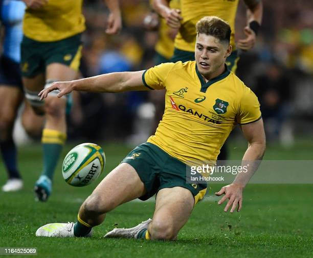 James O'Connor of the Wallabies attempts to regather the ball during the 2019 Rugby Championship Test Match between Australia and Argentina at...