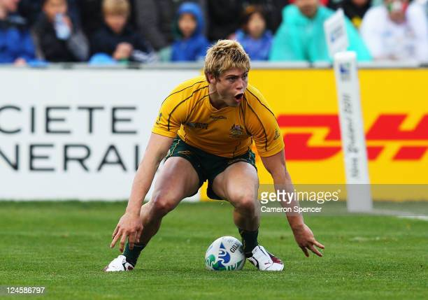 James O'Connor of the Wallabies celebrates his try during the IRB 2011 Rugby World Cup Pool C match between Australia and Italy at North Harbour...