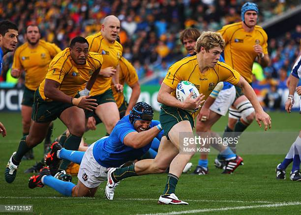 James O'Connor of the Wallabies goes over to score his try during the IRB 2011 Rugby World Cup Pool C match between Australia and Italy at North...