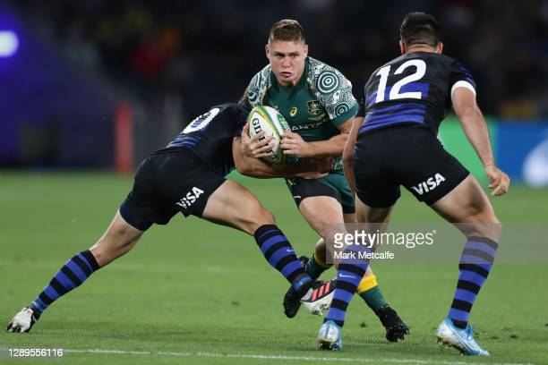 James O'Connor of the Wallabies is tackled during the 2020 Tri-Nations match between the Australian Wallabies and the Argentina Pumas at Bankwest...