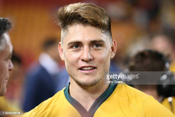 James O'Connor of the Wallabies looks on during the 2019 Rugby Championship Test Match between Australia and Argentina at Suncorp Stadium on July 27...