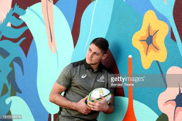 James O'Connor of the Wallabies poses for a portrait during an Australian Wallabies media opportunity at Crowne Plaza Coogee on April 13, 2021 in...