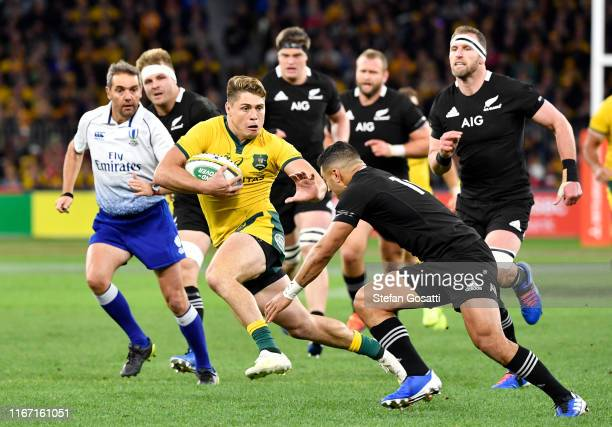 James O'Connor of the Wallabies runs the ball during the 2019 Rugby Championship Test Match between the Australian Wallabies and the New Zealand All...