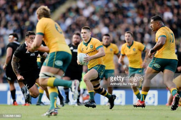 James O'Connor of the Wallabies runs the ball during the Bledisloe Cup match between the New Zealand All Blacks and the Australian Wallabies at Eden...