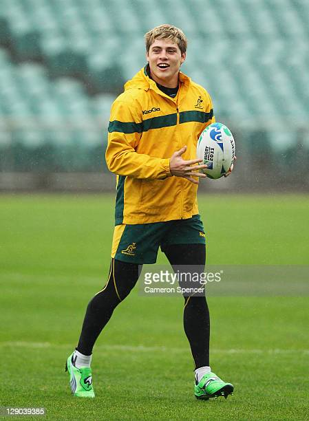 James O'Connor of the Wallabies warms up during an Australia IRB Rugby World Cup 2011 training session at North Harbour Stadium on October 12 2011 in...