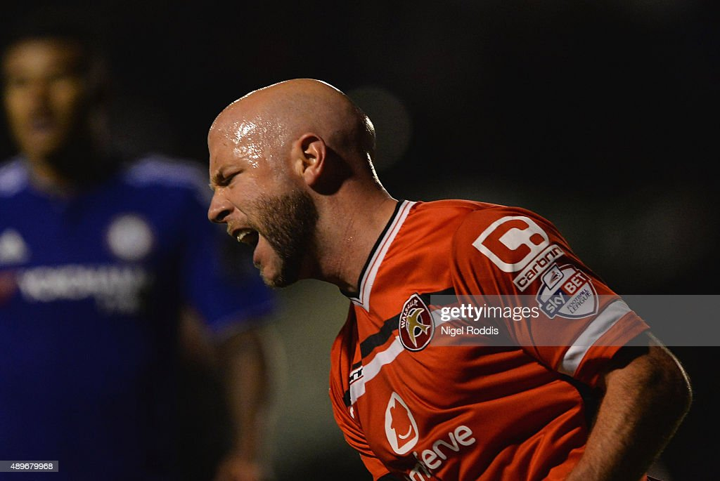 James O'Connor of Walsall celebrates as he scores their first goal during the Capital One Cup third round match between Walsall and Chelsea at Banks's Stadium on September 23, 2015 in Walsall, England.