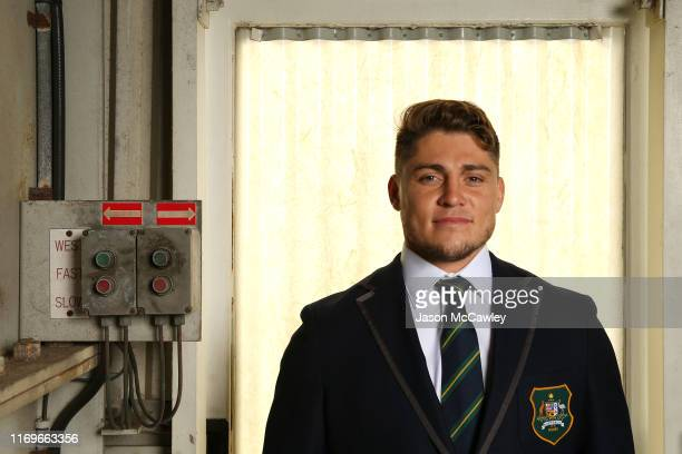 James O'Connor poses for a portrait during the Australian Wallabies Rugby World Cup squad announcement at Hangar 96 on August 23 2019 in Sydney...