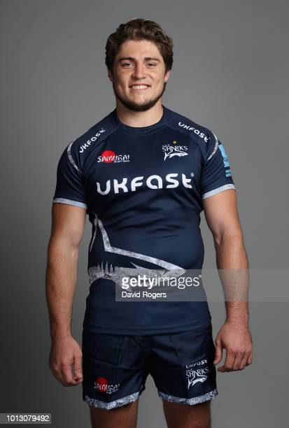 James O'Connor poses for a portrait during the Sale Sharks squad photo call for the 201819 Gallagher Premiership Rugby season at AJ Bell Stadium on...