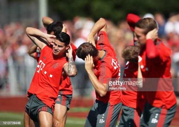 James of Bayern Munich in action during FC Bayern Muenchen pre season training on August 9, 2018 in Rottach-Egern, Germany.