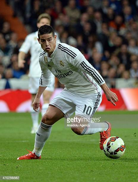 James of Real Madrid is in action during the La Liga match between Real Madrid and Malaga at Estadio Santiago Bernabeu in Madrid Spain on April 18...