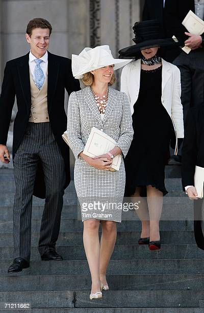 James Ogilvy and his wife Julia with Marina Ogilvy leave St Paul's Cathedral after a service of Thanksgiving held in honour of the Queen's 80th...