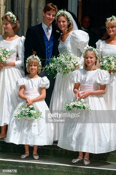 James Ogilvy With His Bride Julia Rawlinson And Their Bridesmaids Charlotte Rawlinson Lady Gabriella Windsor Alexandra Wilson And Eleanor Rawlinson...