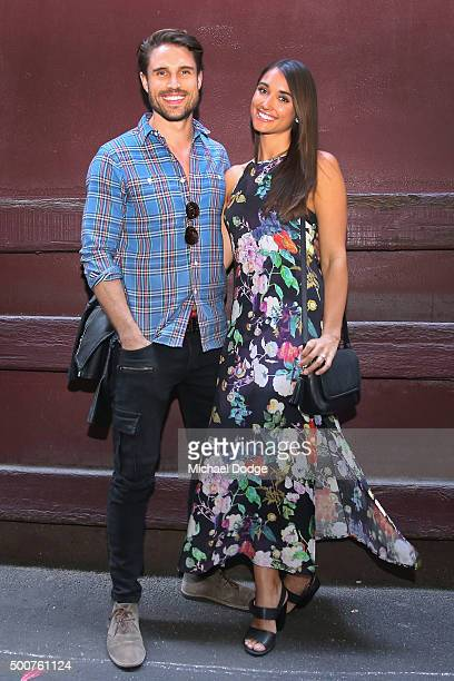 James O'Halloran from the Price Is Right USA and fiancee Jaimee Gooley attend the Chadwick Models Christmas Celebration on December 10 2015 in...