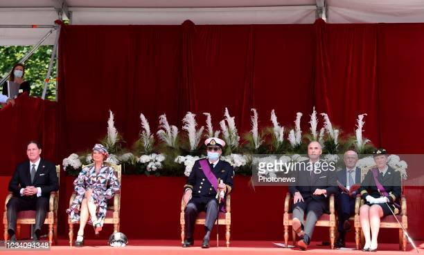James O'Hare, Princess Delphine of Belgium, Prince Laurent of Belgium, Prince Lorenz of Belgium, Princess Astrid of Belgium pictured during the...