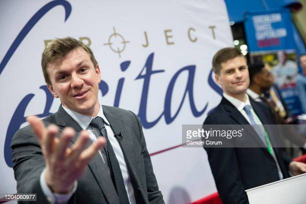 James OKeefe, an American conservative political activist and founder of Project Veritas, meets with supporters during the Conservative Political...