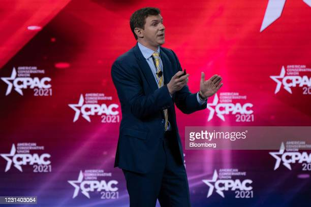 James O'Keefe, founder of Project Veritas, speaks during the Conservative Political Action Conference in Orlando, Florida, U.S., on Friday, Feb. 26,...