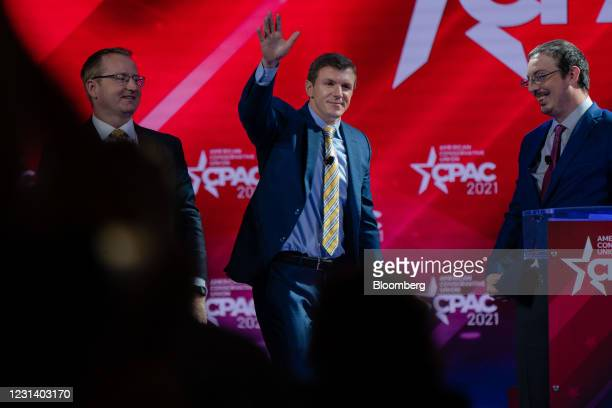 James O'Keefe, founder of Project Veritas, weaves after speaking during the Conservative Political Action Conference in Orlando, Florida, U.S., on...