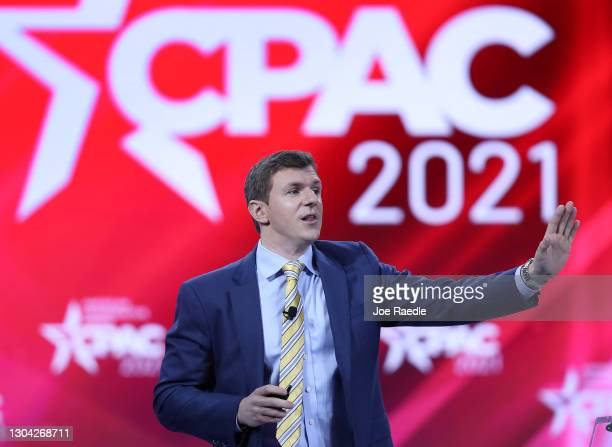 James O'Keefe, President, Project Veritas, addresses the Conservative Political Action Conference being held in the Hyatt Regency on February 26,...