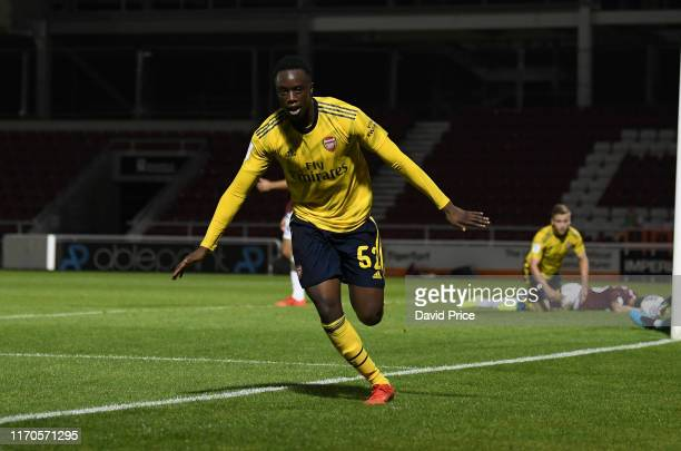 James Olayinka celebrates scoring a goal for Arsenal during the Leasingcom match between Northampton Town and Arsenal U21 at PTS Academy Stadium on...
