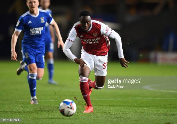 James Olayinka of Arsenal during the Leasingcom Cup match between Ipswich Town and Arsenal U21 at Portman Road on September 08 2020 in Ipswich England