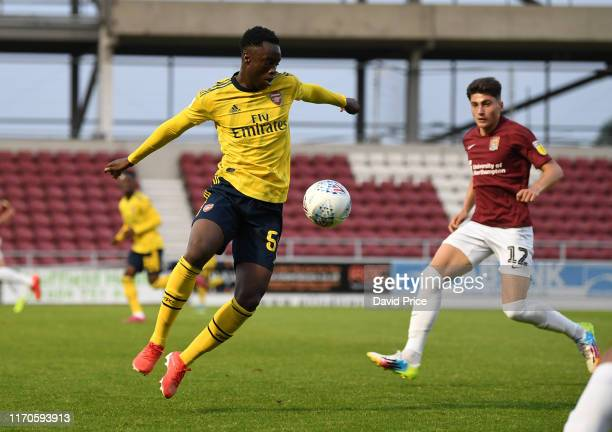 James Olayinka of Arsenal during the Leasingcom match between Northampton Town and Arsenal U21 at PTS Academy Stadium on August 27 2019 in...