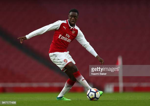 James Olayinka of Arsenal in action during the FA Youth Cup Semi Final 2nd Leg match between Arsenal and Blackpool at Emirates Stadium on April 16...
