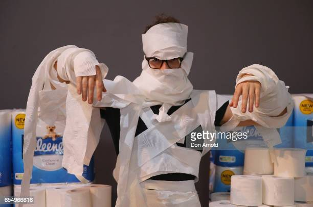 James Orance poses in full costume at Powerhouse Museum on March 19 2017 in Sydney Australia A total of 846 people wrapped themselves in toilet paper...