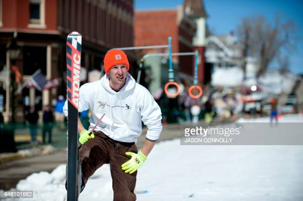 James Ottoman of Leadville Colorado warms up prior to the start of the 68th annual Leadville Ski Joring weekend competition on Saturday March 4 2017...